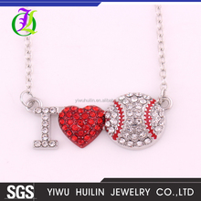 A500432 Yiwu Huilin Jewelry channel fashion ILOVE SOFTBALL pendant Ball games series necklace