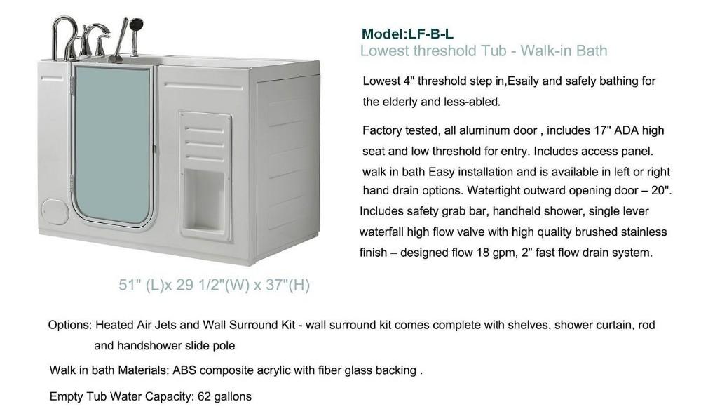 K lfbl portable wheelchair acrylic bathtub glass door walk for Walk in tub water capacity