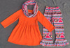 Surprising !new arrival 3 pieces contain scarf suitable festival orange outfits in plain dress with floral print ruffle pants