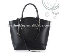 2015 Classic simple design women black leather tote bag