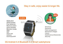 Elderly health safety fall detector heart rate monitor GPS SOS smart watch