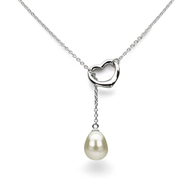 Sterling Silver heart Chain Freshwater Pearl Culture Pendant Necklace pearl mounting