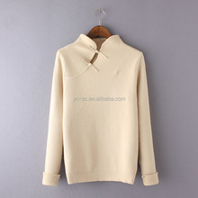 Cable knit pure white decent qulity warm ladies sweat woolen sweater designs for ladies