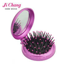 Pearl finish round plastic hair comb and hair brush with mirror