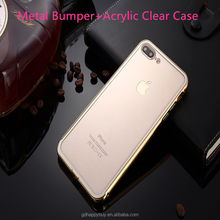 Wholesale Premium Quality Metal Bumper Acrylic Clear Back smartphone phone case for iphone 7 case cover for iphone 6
