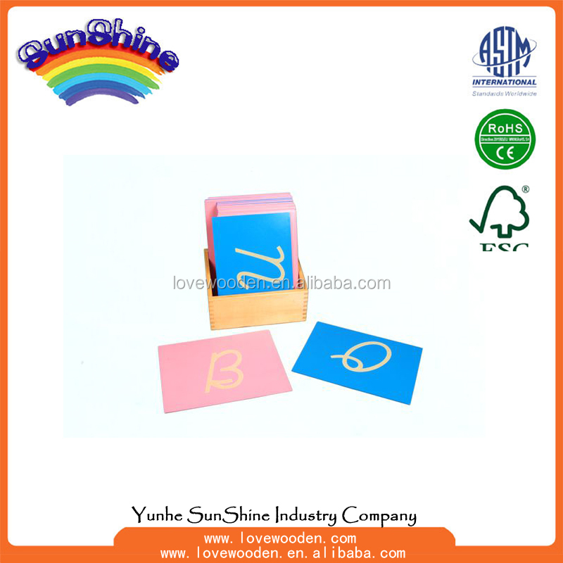 Montessori Material Educational Toys Sandpaper Letters, Capital Case Cursive, with Box (Right hand) Wood Toy Teaching Aids