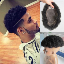 Afro Curl Toupee 6inch Virgin Brazilian Hair Lace PU Base Toupees for Black Men Free Shipping