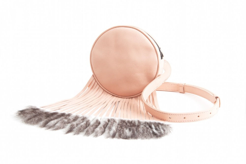 Blush Pink Circle Fringe Leather Fanny Pack Belt Wait Bag