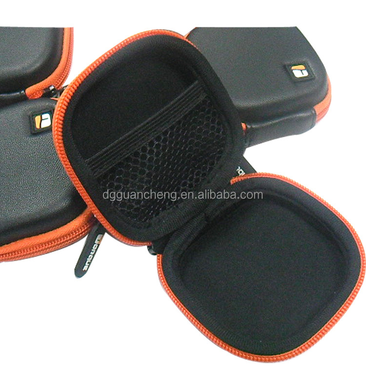 GC--Supply light weight smooth leather with rubber logo eva headphone bag