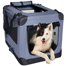 Dog Soft Crate Kennel for Pet Indoor Home & Outdoor Use - Soft Sided 3 Door Folding Travel Carrier with Straps