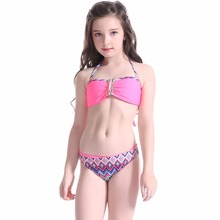Swimsuits for Kids 2018 Zigzag Print Two Pieces Child Swimsuit Bandeau Micro Sexy Kids Bikini