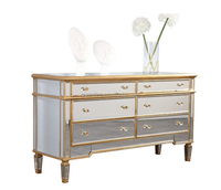 Unique mirrored furniture console cabinet with gold frame