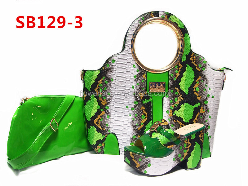 good design matching green shoe and bag set/ladies shoes and matching bags italian