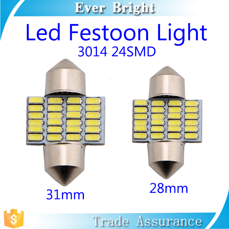 Festoon lights white china 2016 new products 3014 24smd 31mm 28mm led festoon