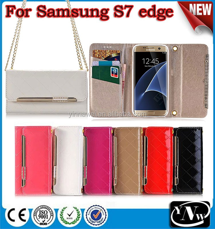 For Samsung case Lady style wallet leather case with card slot with shoulder strap Mobile Phone accessories For Samsung S7 edge