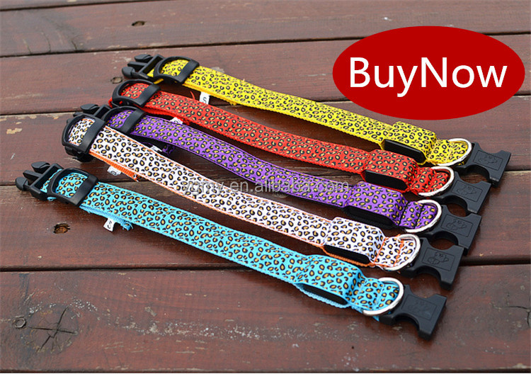 Leopard Print Design Puppy LED Necklace Luminous Pet Decors Productos Para Mascotas dog harness Led clip pet accessories