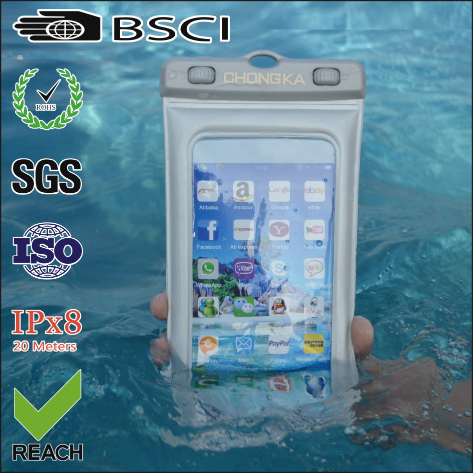New Customize Small Mobile Phone Pvc Waterproof Bag Armband Case for iphone 7 plus