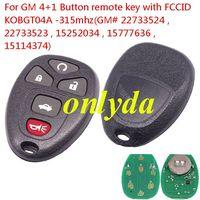 Buick-R14A car keys GM 4+1 Button remote key with FCCID KOBGT04A -315mhz GM