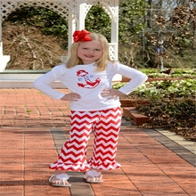 Wholesale New Style kids clothes white dress with ruffels and pants set