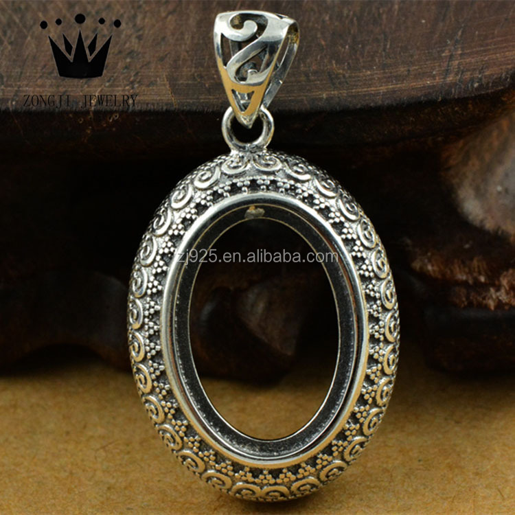 Antique 925 Sterling Silver Jewelry Cabochon Bezel Settings Pendant Trays Without Stones