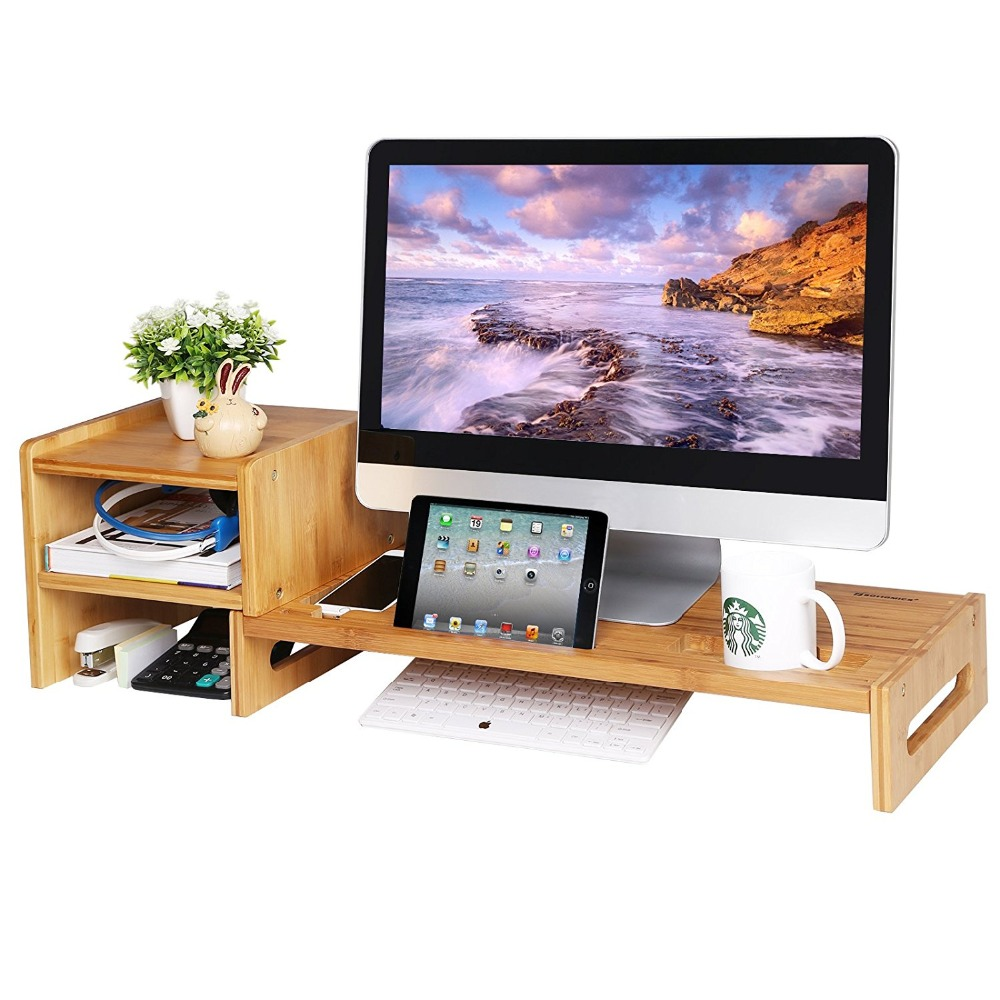 New Fashioned Storage Organizer Bamboo Computer Stand