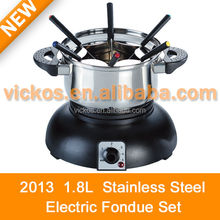 High quality 6pcs cheese/chocolate fondue set, mini electric stailess steel cheese/ chocolate fondue, 2L stainless steel pot