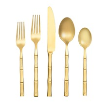 2017 Wedding gold plated cutlery set, rose gold flatware, luxury 24k full gold cutlery