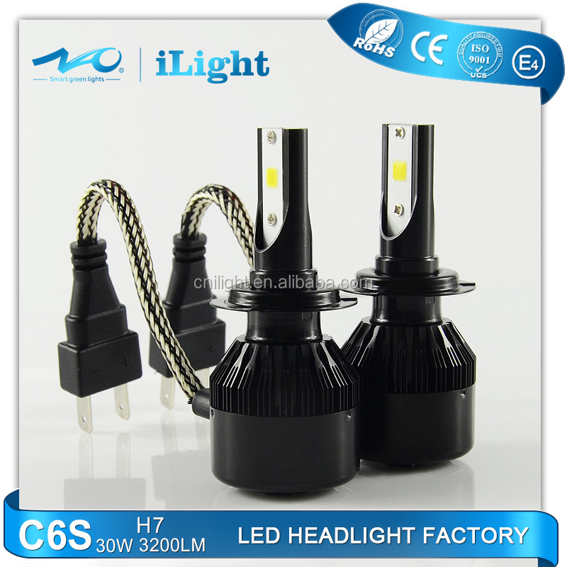 NAO led auto lamp CE EMARK ISO9002 ROHS DOT 30w 3200lm IP67 car led headlight H7 C6S