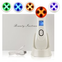 Facial Skin Beauty Care Massager RF Toning Face Lift Device - LED 5 Colors Lightening Skin Photo-rejuvenation Micro