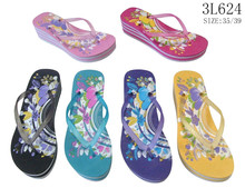 Custom printed new fashion ladies slippers flip flop wedge platform eva beach