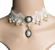 Wedding Neck Accessory White Lace Pearl Tassel Necklaces Choker Lolita Bridal Chokers