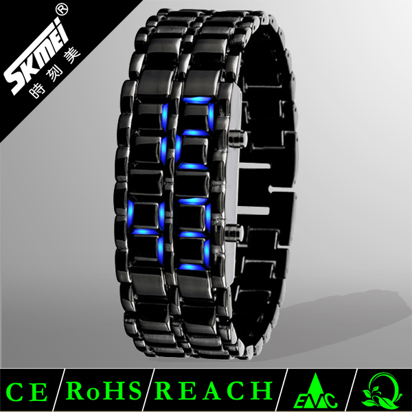 iron samurai blue lava faceless led digital watch