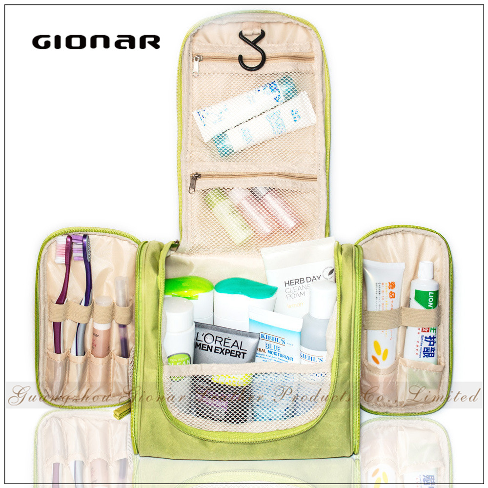 Fashion Durable Waterproof Nylon Makeup Portable Cosmetic Bag with Hanging Hook