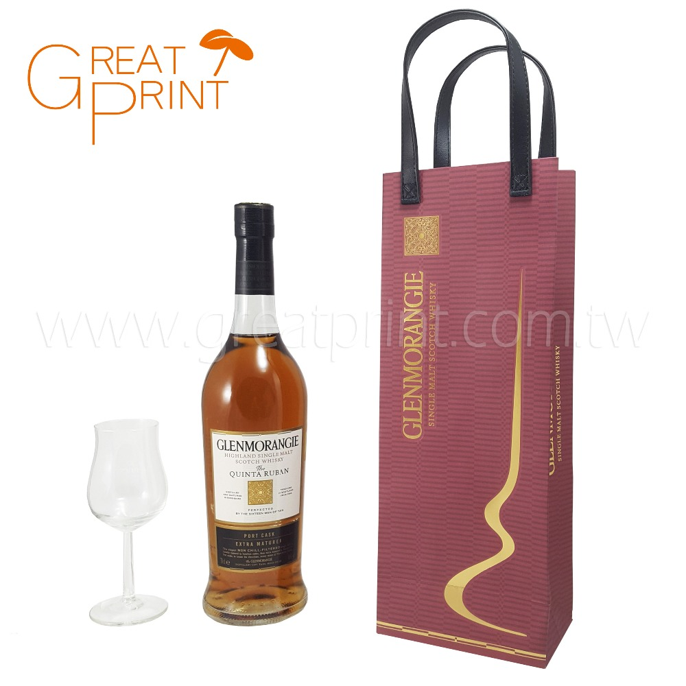 Single Bottle Wine Gift Paper Bag with PU Leather Handle