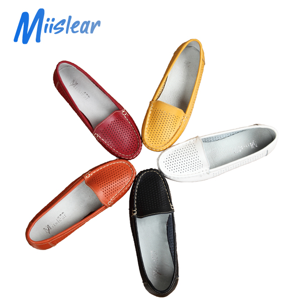 New Breathable Ladies Genuine Leather Flat Slip-on Safety Shoes