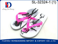 Rose color PVC strap white color outsole with nice LOGO printing flip flops