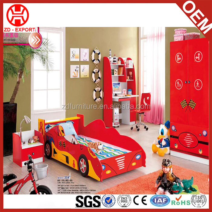 Hot selling kids bedroom furniture red coloured kids cartoon car bed for sale