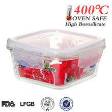 Watertight food grade box storage glass container with lid made in China