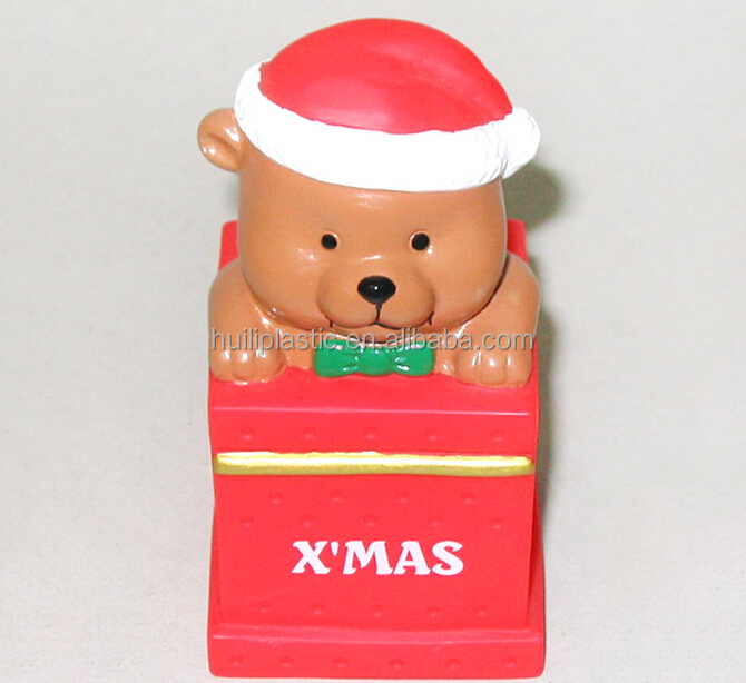 Custom plastic cool bear shaped mini atm coin bank as christmas gifts for kids