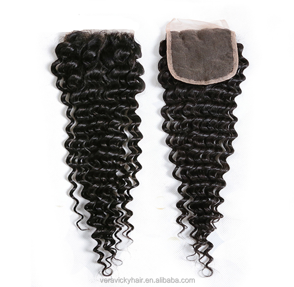 <strong>Cheap</strong> Unprocessed Brazilian Deep Wave Closure Virgin Human Hair Lace Closure Bleached Knots Free Middle Part Closures Piece