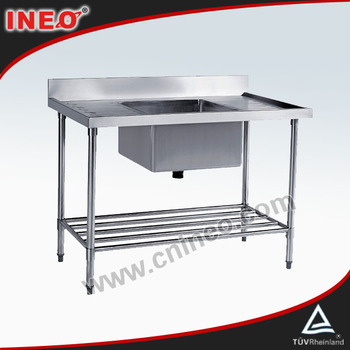 Hotel Kitchen Freestanding Kitchen Stainless Steel 1 Bowl Single Sink(INEO are professional on commercial kitchen project)