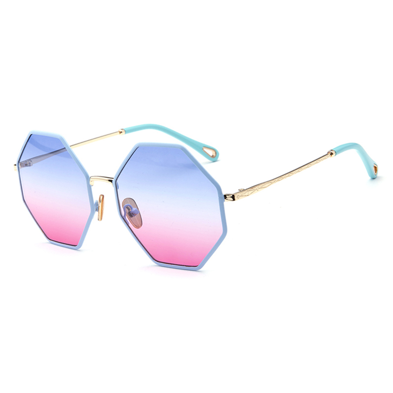 2019 Wholesale Six-Sided Metal Frame Fashion Sunglasses For Women