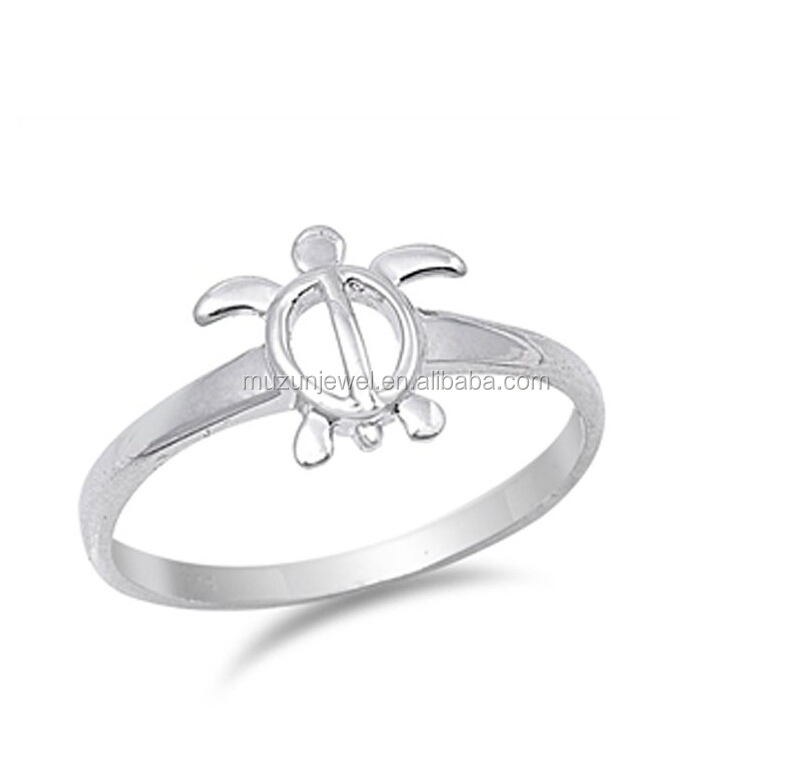 Fashion beach jewelry plain 925 sterling silver sea turtle ring
