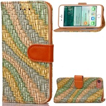For iPhone 7 High Quality Painted Rainbow PU Leather Wallet Case Magnetic With Kickstand Phone Case