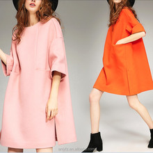 Latest Net Dress Designs Formal Pink Half Sleeve Loose Cocoon Type Woolen Women Midi Dress