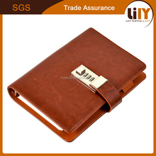 high quality hardcover PU leather A5 personalized diary with coded lock