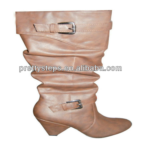 Pretty Steps 2013 Women Ladies Sexy Latest Wholesale PU Middle-heeled boots