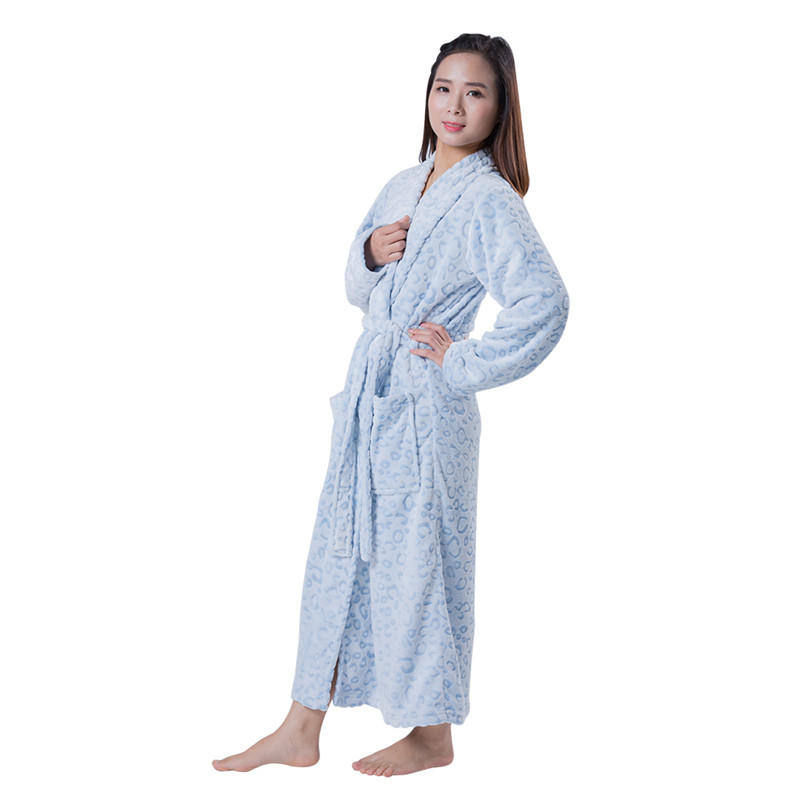 100% Polyester Blue Flannel Maxi Dress Sleepwear Fabric Bathrobe