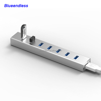 aluminum case 7 port usb hub for pen drive and card reader usb3.0 custom 7 port usb hub