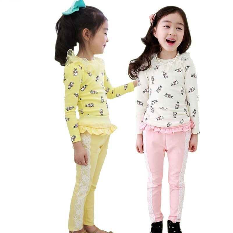 China Factory Manufacturer Beautiful Girls Causal Clothing Sets Kids Spring Suits
